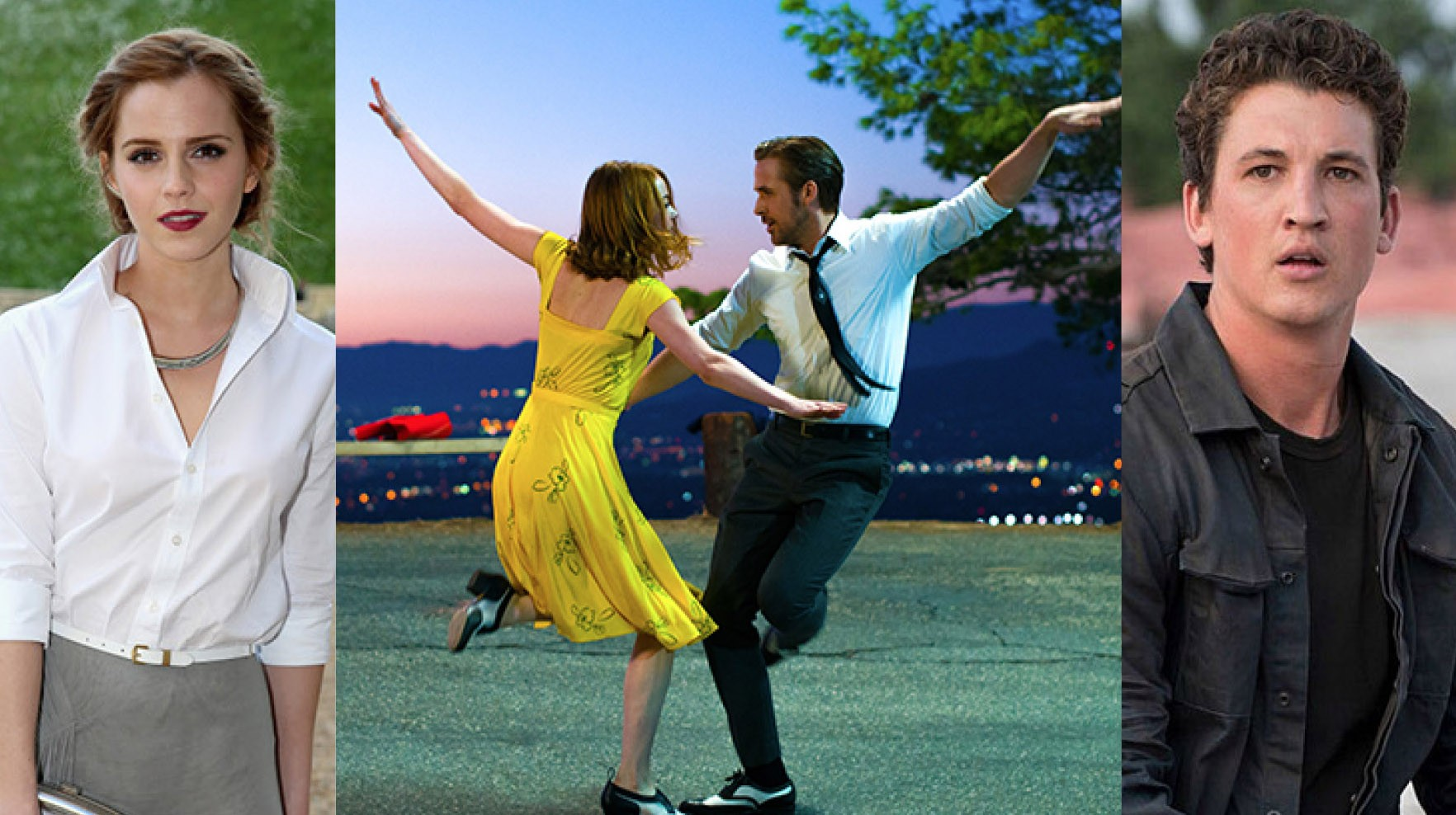 Emma Watson, Ryan Gosling, Emma Stone, Miles Teller (Foto: Getty Images / Divulgação)