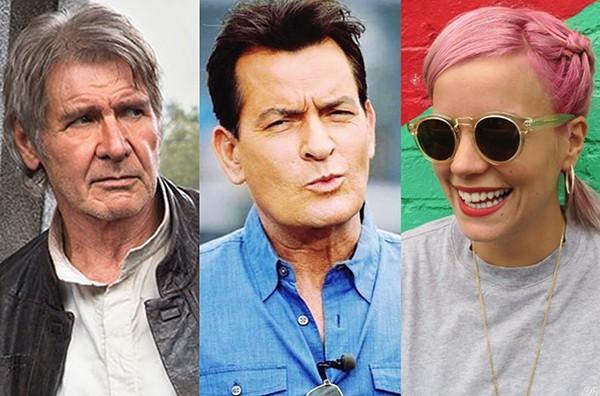 Harrison Ford, Charlie Sheen, Lily Allen (Foto: Getty Images e Reprodução)