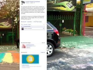 Comitê de campanha do PRTB em São Paulo na sexta-feira (3), à esquerda, e neste domingo (5): protesto LGBT criticou discurso de homofobia do candidato Levy Fidelix (Foto: Reprodução/Facebook/Levante Popular da Juventude/Ana Carolina Moreno/G1)