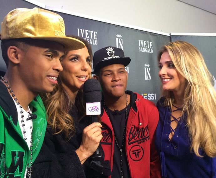 Rafa Brites acompanha encontro de Lucas e Orelha com Ivete Sangalo (Foto: André Corga/TV Globo)