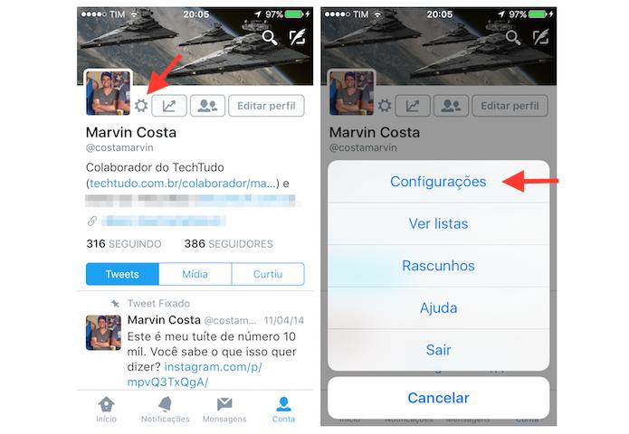 Acessando as configurações do Twitter para iPhone (Foto: Reprodução/Marvin Costa)
