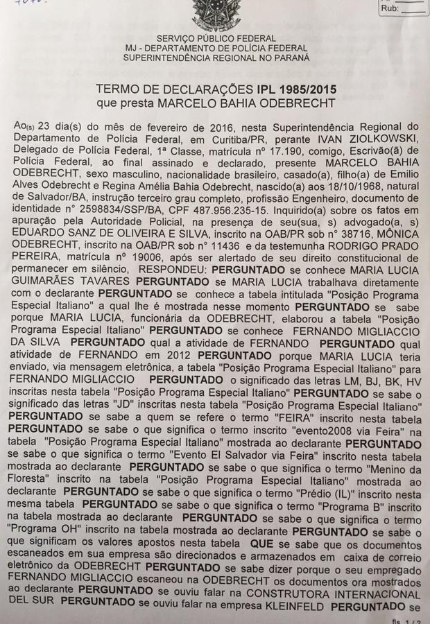 Depoimento Marcelo Odebrecht (Foto: Reprodução)