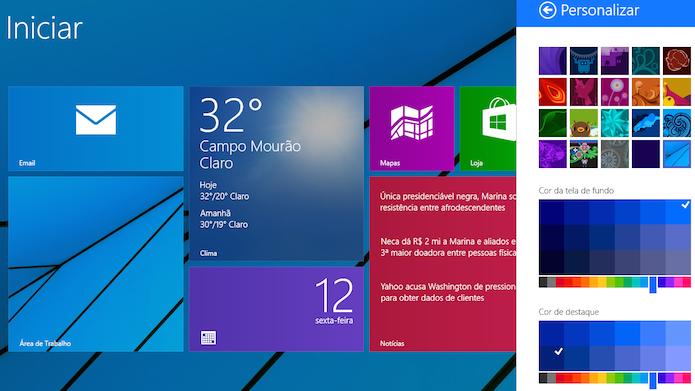 Alterando coloração da interface moderna do Windows 8 (Foto: Reprodução/Helito Bijora)