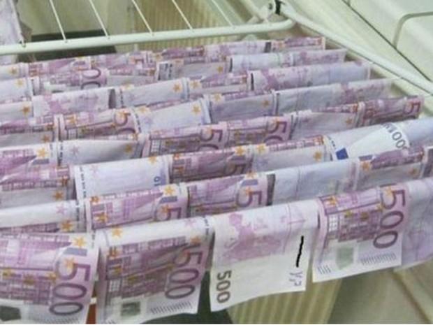 Dinheiro foi encontrado boiando no rio Danúbio  (Foto: Polícia de Viena)
