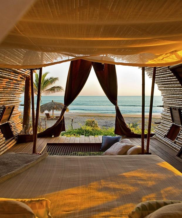 Hotel de luxo em praia mexicana tem suíte feita de bambu