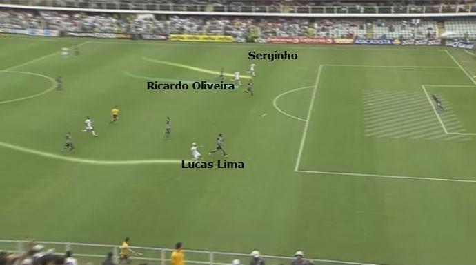 Lucas Lima parte pela direita e cruza o lance para Serginho finalizar e Ricardo Oliveira pegar rebote (Foto: reprodução)