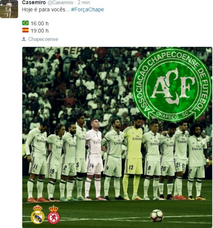 """BLOG: Casemiro dedica partida do Real Madrid para a Chapecoense: """"Hoje é para vocês"""""""