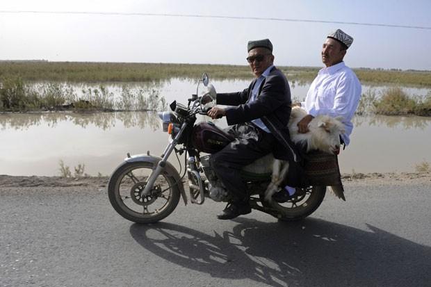 Dois homens da etnia Uighur foram flagrados na terça-feira (21) carregando um bode em uma moto na região autônoma de Xinjiang, na China. (Foto: Reuters)