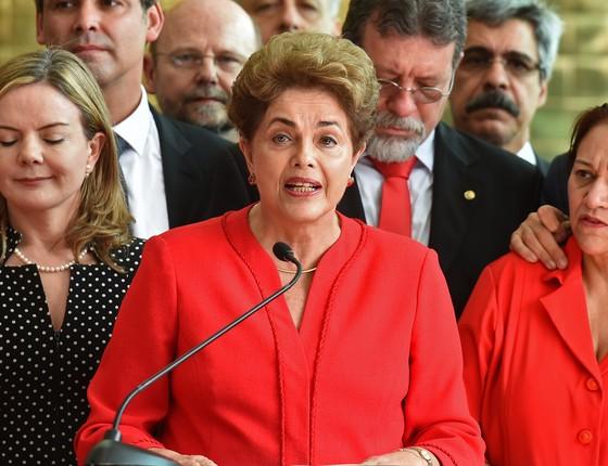 A ex-presidente Dilma Rousseff no Palácio da Alvorada, após sofrer processo de impeachment (Foto: EVARISTO SA / AFP)