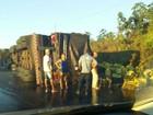 Caminhão de cerveja tomba e carga fica espalhada em pista no Tocantins