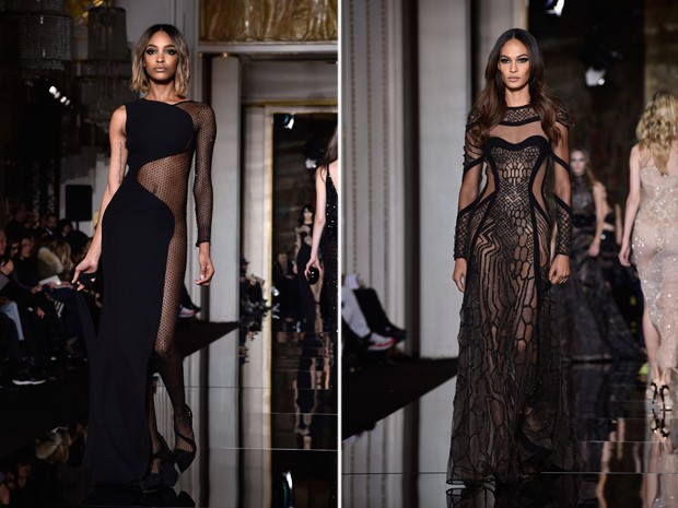 Jourdan Dunn e Joan Smalls tambm desfilaram para a Versace com looks reveladores. Jourdan parecia usar uma espcie de meia 'arrasto' que ia do pescoo aos ps (Foto: Getty Images)