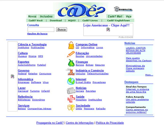 Cadê era uma página famosa de buscas (Foto: Reprodução/Google)