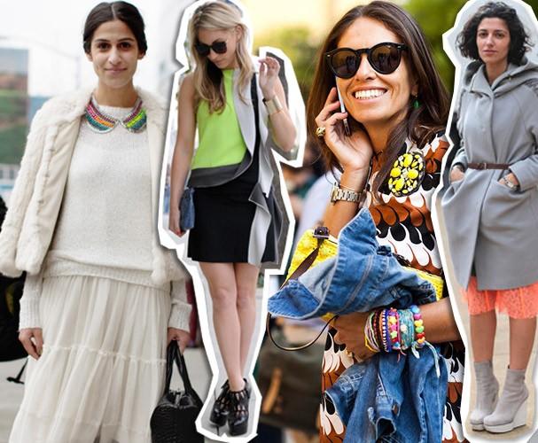 Fashionistas clicadas para os blogs de street style apostam no neon em acessórios (Foto: Reprodução)