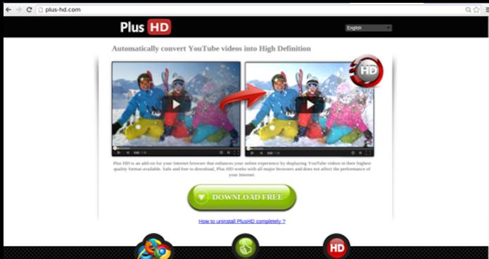 Plus HD, um adware que você não vai querer ver no seu computador (Foto: Reprodução/PlusHD)