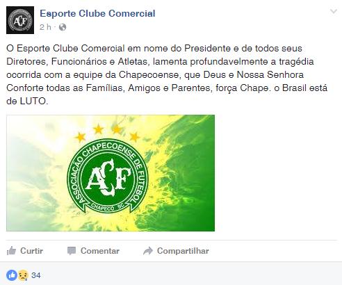 Comercial-MS lamenta tragédia da Chapecoense (Foto: Reprodução/Facebook)