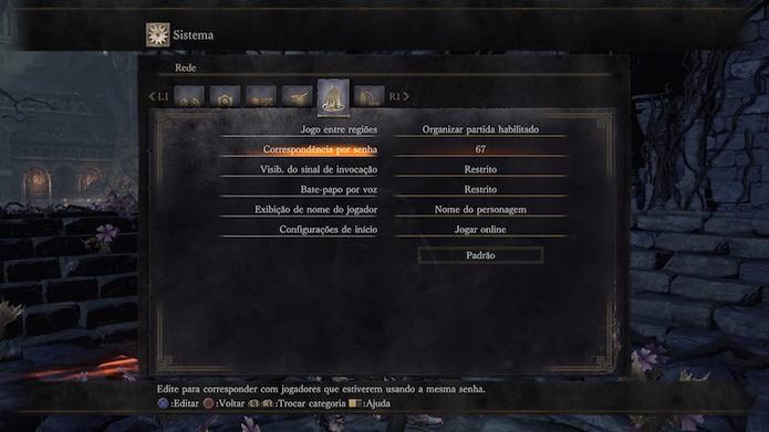 Dark Souls 3: edite para corresponder com jogadores que estiverem usando a mesma senha (Foto: Reprodução/Victor Teixeira)