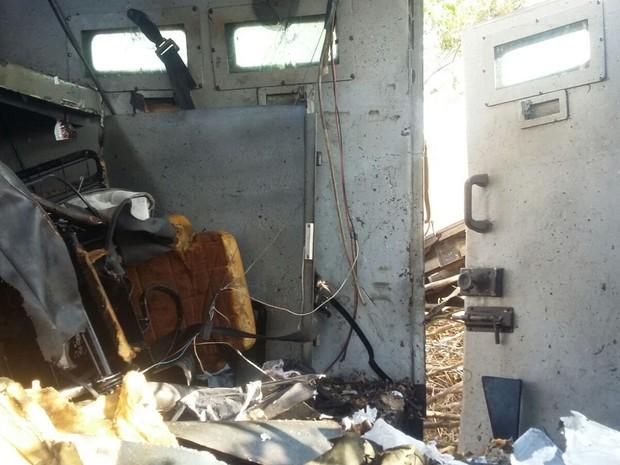 Carro forte foi explodido em Canto do Buriti (Foto: Divulgação/ Polícia Militar)
