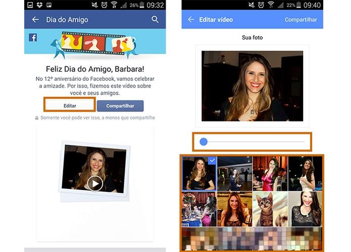 Edite e personalize o vídeo Dia do Amigo com as imagens que preferir (Foto: Reprodução/Barbara Mannara)