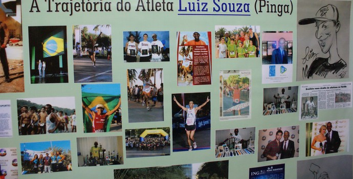 No banner um pouquinho da história do ''Pinga'' (Foto: Davidson Fortunato/GE)