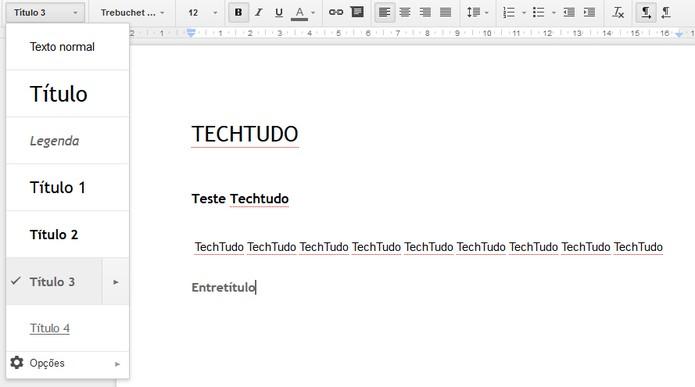 Modifique o estilo do texto no menu indicado (Foto: Reprodução/Carol Danelli)