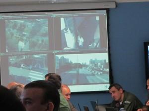 Imagens de helicópteros e câmeras nas ruas mostram deslocamento do time da Bélgica (Foto: Tahiane Stochero/G1)