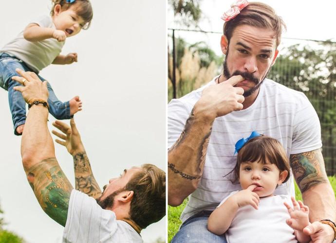 Rodrigo se divertindo em um ensaio fotográfico com a filha Valentina (Foto: Alexandre Cavarzan)