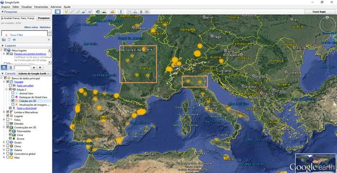 Marcações em amarelo indicam cidades em 3D (Foto: Reprodução/Barbara Mannara)