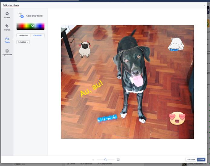 Facebook adicionar editor de fotos, corte, texto e figurinhas na versão web (Foto: Melissa Cruz / TechTudo)
