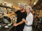 Sthefany e Kayky Brito preparam receita em restaurante no Rio