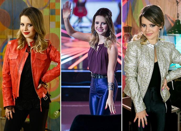 Sandy e alguns de seus figurinos no SuperStar (Foto: Gshow/TV Globo)