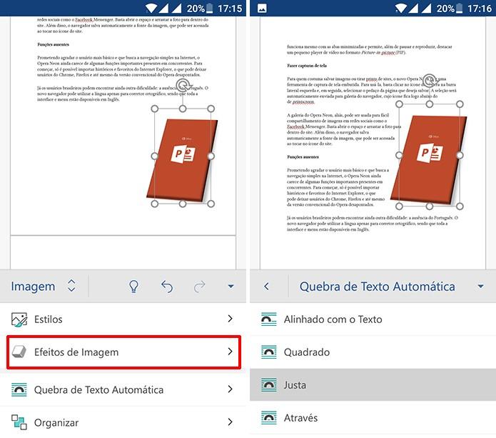 Efeitos de quebra automática de texto pode funcionar bem para documentos do Word (Foto: Reprodução/Elson de Souza)