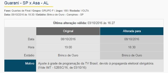 Guarani x ASA segundo jogo Campinas (Foto: Reprodução / Site oficial da CBF)