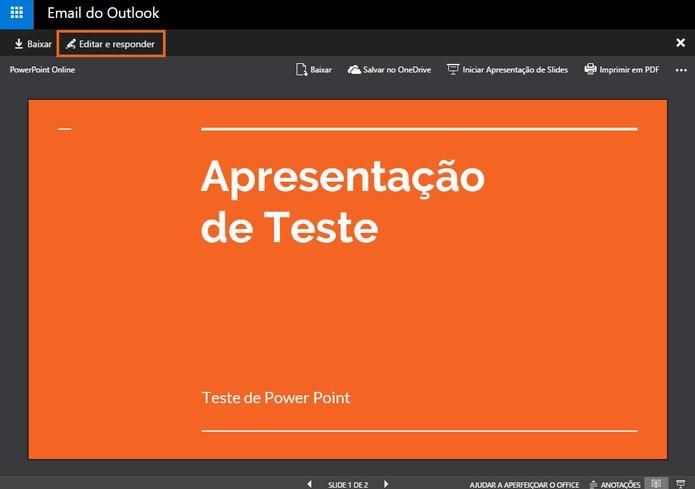 Visualize o conteúdo da apresentação do PowerPoint no Outlook (Foto: Reprodução/Barbara Mannara)