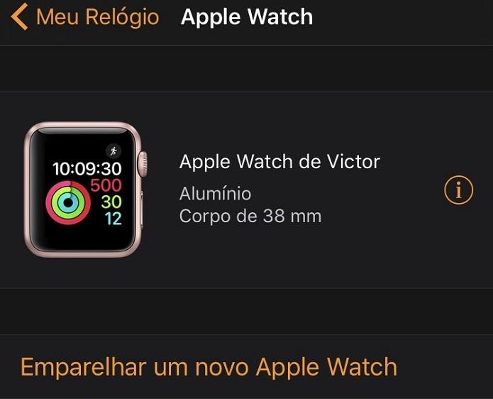 """Para desemparelhar, basta pressionar o ícone """"i"""", localizado no menu inicial do aplicativo """"Watch"""" (Foto: Reprodução/Victor Teixeira) (Foto: Para desemparelhar, basta pressionar o ícone """"i"""", localizado no menu inicial do aplicativo """"Watch"""" (Foto: Reprodução/Victor Teixeira))"""