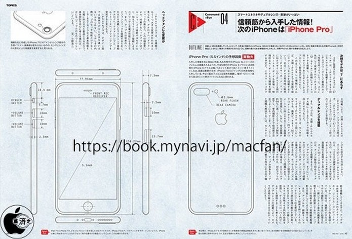 Suposto esboço do iPhone 7, próximo smart da Apple (Foto: Reprodução/Mac Fan)