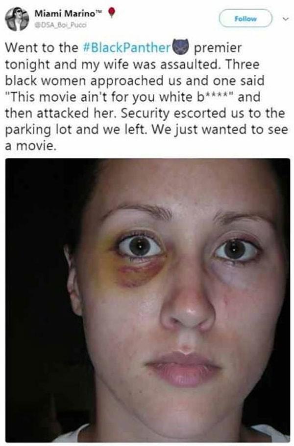 Postagens falsas sobre agressões a brancos durante sessões de Pantera Negra (Foto: Reprodução/Twitter)