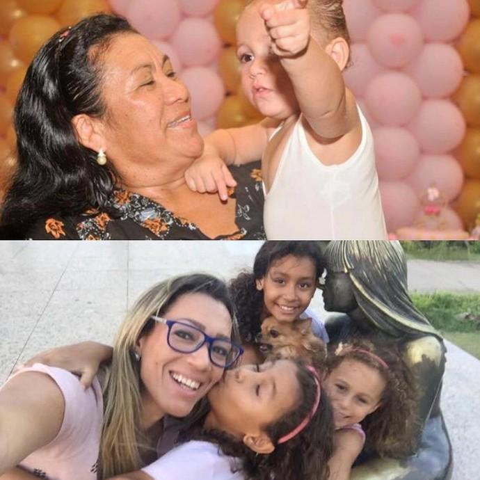 Fernanda com as filhas. Em cima, dona Luzinete com uam das netas (Foto: Arquivo Pessoal)