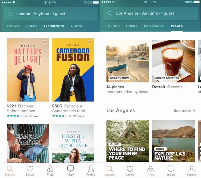 """Novo app contará com as abas """"Experiences"""" e """"Home"""" (Foto: Divulgação/Airbnb)"""