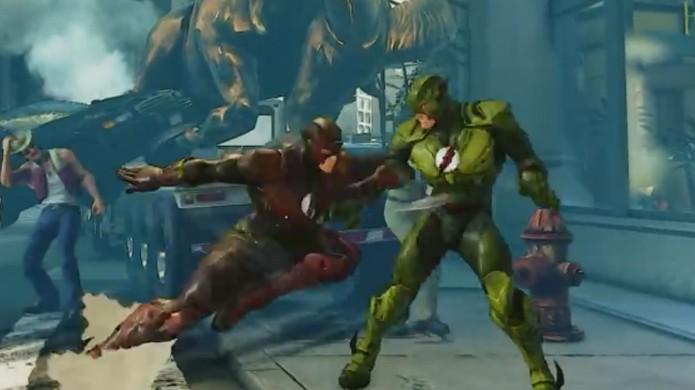 The Flash e seu vilão Flash Reverso se enfrentam no meio de Street Fighter 5 (Foto: Reprodução/YouTube)