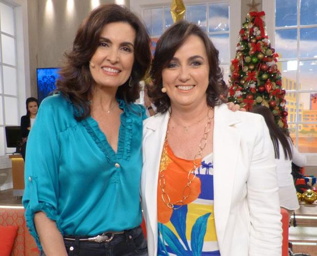 Fátima e Denise Hills, do Itaú, no Encontro (Foto: Carolina Morgado/Gshow)