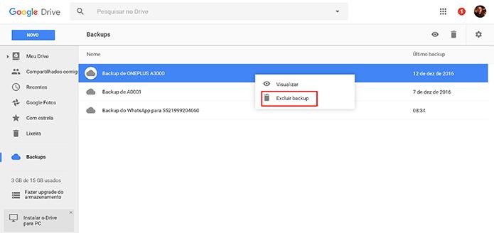 Usuário pode excluir backup do Android no Google Drive para economizar espaço (Foto: Reprodução/Elson de Souza)