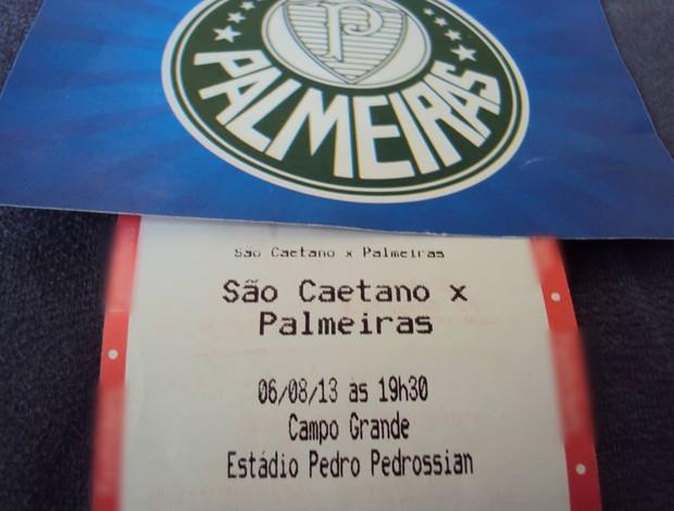 Ingresso para jogo de São Caetano e Palmeiras no Morenão (Foto: Arquivo pessoal/Ari Sandim)