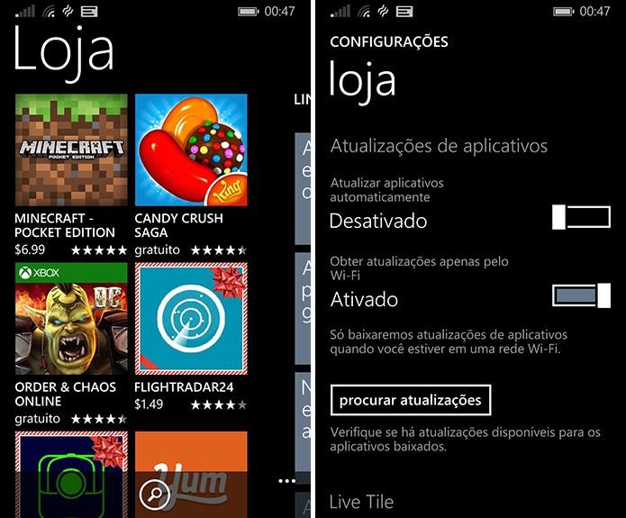 Atualização automática de aplicativos do Windows Phone pode ser desligada na loja do sistema (Foto: Reprodução/Elson de Souza)