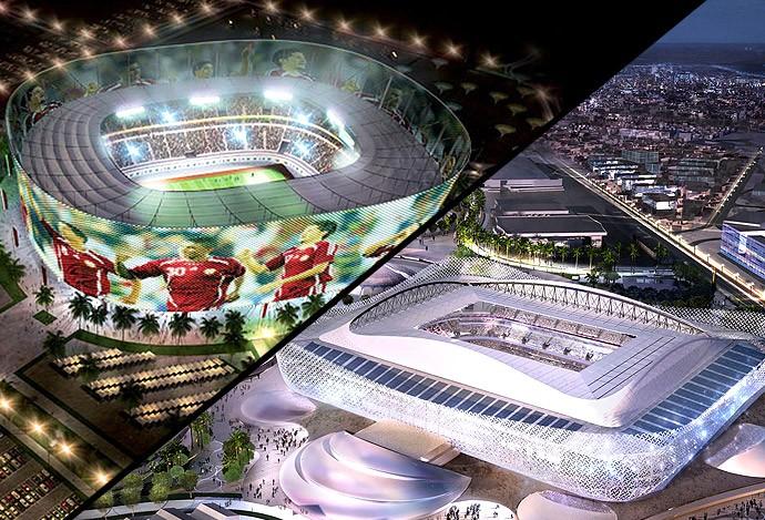 Montagem Estádio Rayyan (Foto: infoesporte)
