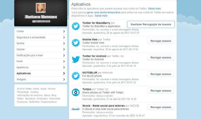 Verificando aplicativos que têm acesso à conta do Twitter (Foto: Reprodução/Barbara Mannara)