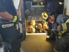 Bombeiro tira 'sarro' ao resgatar 12 policiais presos em elevador nos EUA