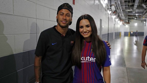 Neymar e Demi Lovato (Foto: Reprodução)
