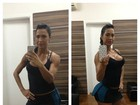 Gracyanne Barbosa mostra modelito curto para jogar tênis