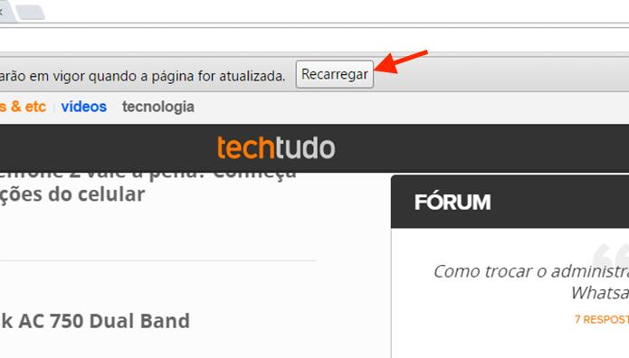 Recarregando a página para que a nova configuração de download automático seja configurada (Foto: Reprodução/Marvin Costa)