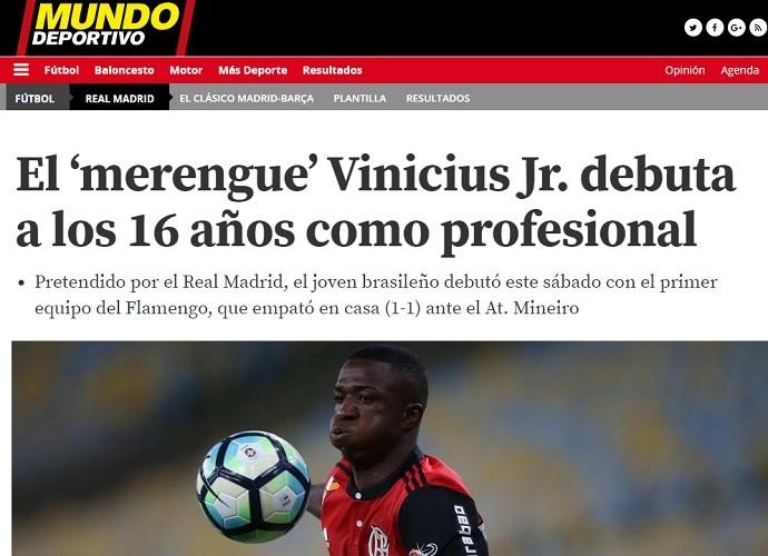 """BLOG: Estreia profissional do """"merengue"""" Vinicius Junior é destaque na Espanha"""